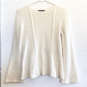 Ann Taylor White Wool Bell Sleeve Knit Sweater